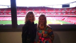 Susan Moore and Pamela Butchart at Emirates Stadium for the Inaugural Islington Primary Schools Book Award