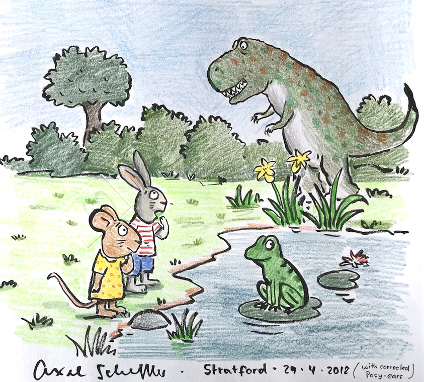 Pip and Posy meet a dinosaur